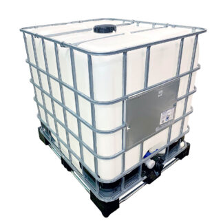 A reconditioned IBC at Recontainers, it has a metal cage and a plastic bottle.