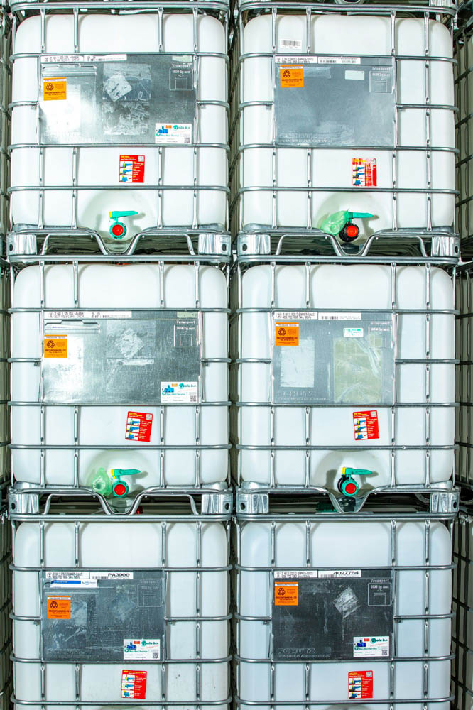 Rows of IBCs ready to be reconditioned at Recontainers