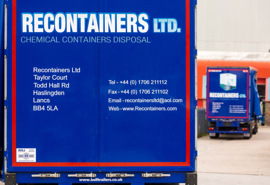 Two Recontainers lorries, fully loaded with reconditioned IBCs, ready for delivery to customers in the North of England