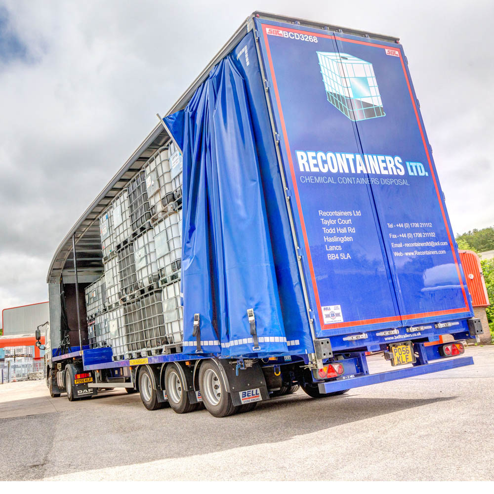 Reconditioned IBCs loaded onto a Recontainers Trailer ready for delivery across the UK