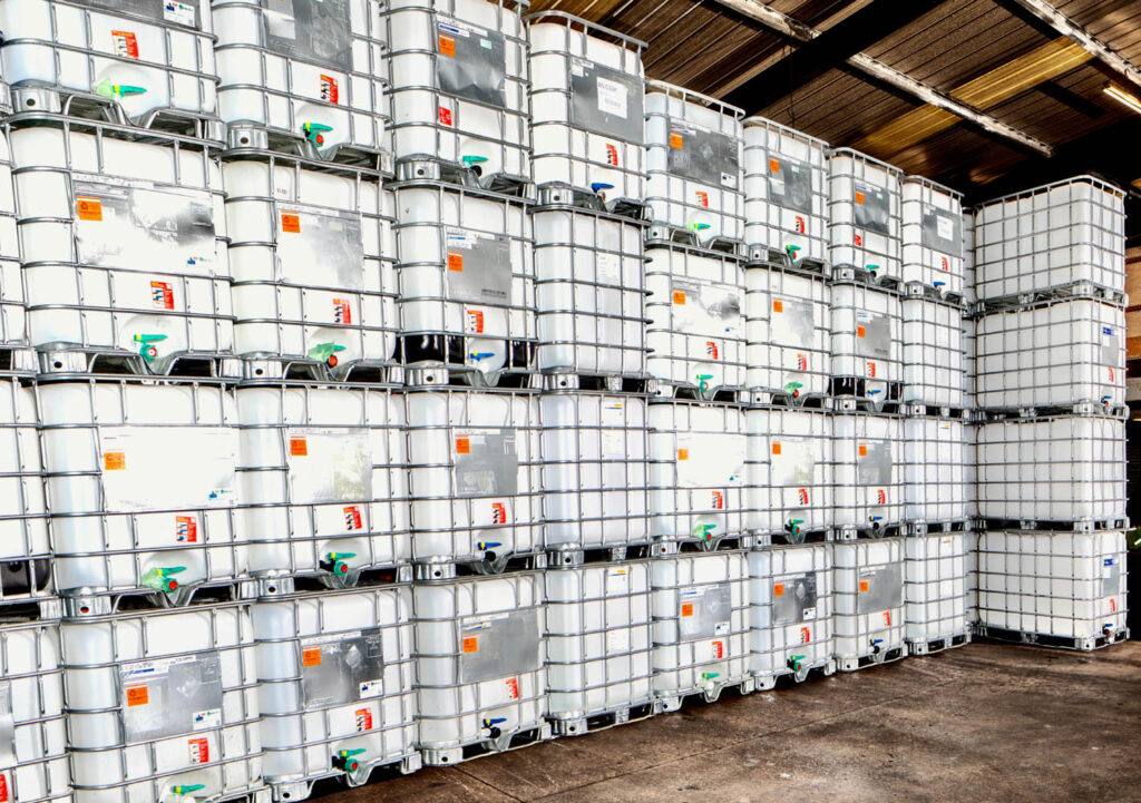 Rows of IBCs in the warehouse